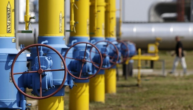 Valves and pipelines are seen at a gas compressor station in Velke Kapusany