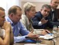 Former Ukrainian President Kuchma, OSCE Ambassador Tagliavini and Russian Ambassador to Ukraine Zurabov attend a meeting with leaders of the self-proclaimed Donetsk People's Republic and Luhansk People's Republic in the city of Donetsk