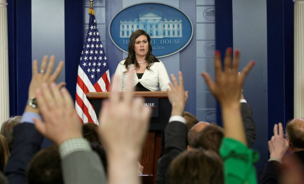 White House spokeswoman Sarah Huckabee Sanders holds a news briefing at the White House in Washington, D.C., U.S., May 11, 2017. REUTERS/Kevin Lamarque