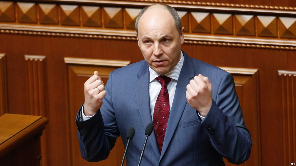 epa05258531 Andriy Parubiy speak to lawmakers during a session of Ukrainian Parliament in Kiev, Ukraine, 14 April 2016. Andriy Parubiy was elected as a new Speaker of the Ukrainian Parliament. The Ukrainian Parliament on 14 April 2016 appointed Parliament Speaker Volodymyr Groysman to the post of the Prime Minister of Ukraine, after dismissing Arseniy Yatsenyuk from his post. A majority of the Ukrainian lawmakers earlier had accused Yatsenyuk of being unable to combat corruption and to introduce structural reforms demanded by the international community. EPA/ROMAN PILIPEY
