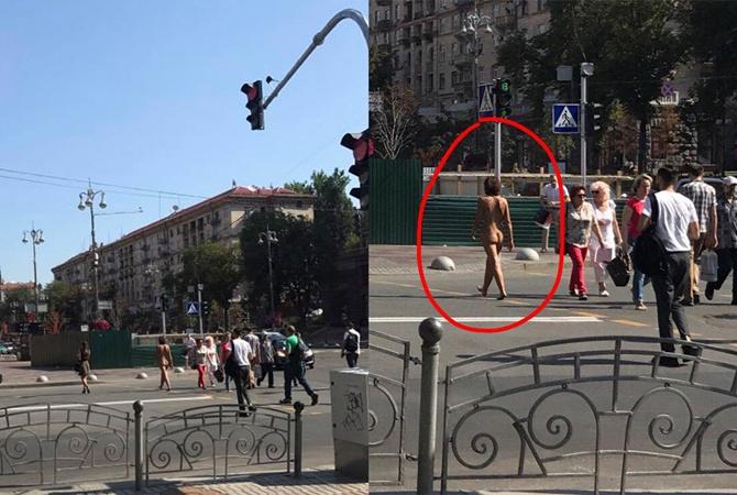 Скандал с нудисткой в центре Киева: полиция поймала женщину и сдала психологам (ВИДЕО)