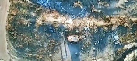 Военные выложили видео атаки беспилотника на позицию боевиков ЛДНР (ВИДЕО)