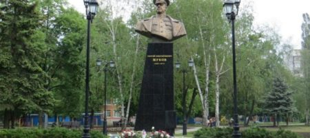 В Харькове во время протеста активисты повалили памятник Жукову (ВИДЕО)