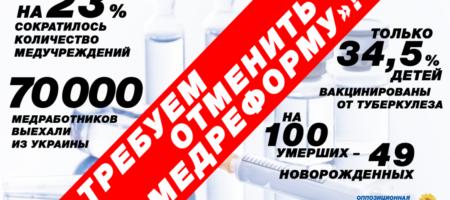 ОППОЗИЦИОННАЯ ПЛАТФОРМА – ЗА ЖИЗНЬ подала в Раду законопроект об отмене медреформы