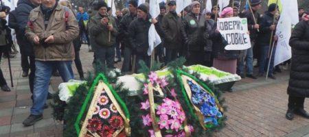 """Под Раду принесли гроб с настоящим трупом: """"Покойся с миром..."""". ФОТО"""