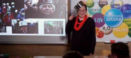 Украинцы продолжают ругать учительницу с кастрюлей на голове. ВИДЕО