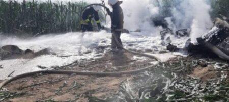 На Киевщине рухнул и сгорел самолет