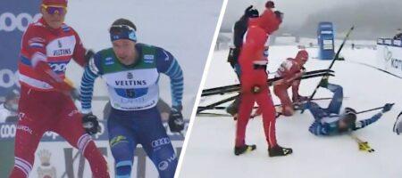 На российского лыжника Большунова за удар соперника палкой подали заявление в финскую полицию