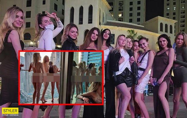 Появились новые фото украинок, которые обнаженными позировали в Дубае на балконе