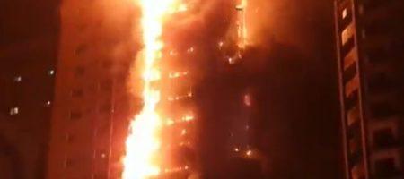 Сильнейший пожар поглотил небоскреб в ОАЭ (ВИДЕО)