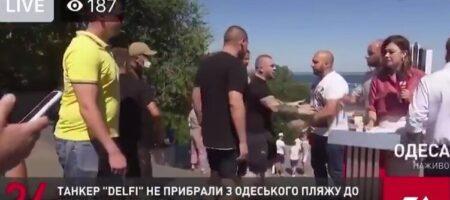 """""""А ну-ка давай-ка, уе@ывай отсюда"""": в Одессе пророссийским политикам Медведчука не дали провести эфир на одном из его каналов (ВИДЕО)"""